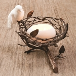 "6"" Tabletop Single Nest w/Fine Bone China Bird & Egg Tealight (Copper)"