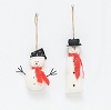 Canvas Snowman Orn w/Red Scarf  (Red/White)
