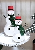 Tabletop Canvas Snowman w/Tin Hat (White/Red)