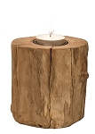 Reclaimed Wood Single Log Tealight  Candleholder - Set/2 (Natural)