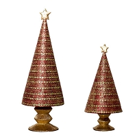 Banded Horizontal Cone Tree w/Star (Red/Citron)