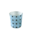 Capiz Votive Candleholder (Brown/Aqua Polka Dot)