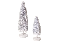Recycled Paper Tree w/Stand (White Glitter)