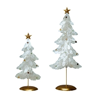Flat Capiz Tree w/Star (White/Gold)
