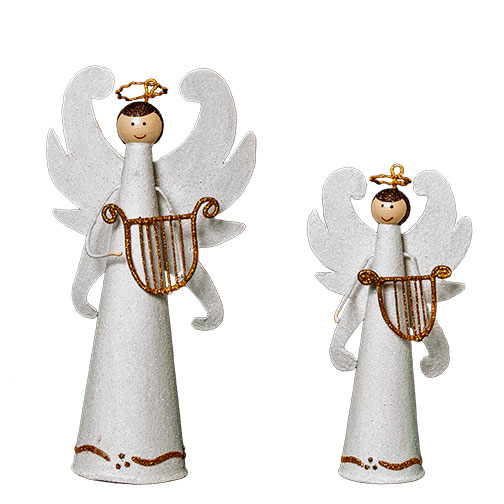 Delightful Home U003e Holiday U003e Tabletop Winged Angel W/Harp (White)