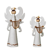 Tabletop Winged Angel w/Harp (White)