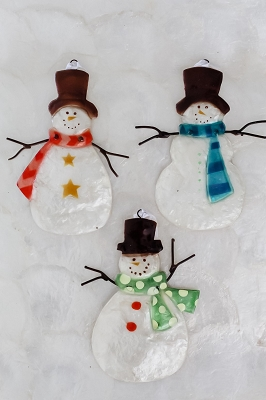 Capiz Snowman Ornament Set/6 - Assorted