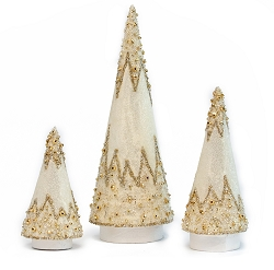 Glass Beads Cone Tree with Glitter (White/Gold)