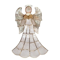 Medium Tabletop Capiz Angel w/Book (Nat/Gold)
