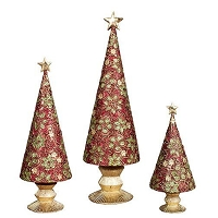 Floral Lace Fancy Cone Tree (Red/Citron)