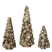 Pine Cone Bottom & Coco Flower Tree (Champagne Gold)