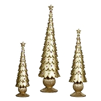 Plain Scalloped Tapered Cone Tree w/Ribbed Base (Gold Dream)