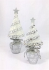 Potted Flat Tree w/Star (Silver/White) 7.5