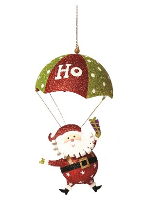 "11"" Hanging Tin Santa w/Parachute - Hohoho (Red/White)"