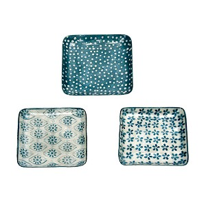 "5"" Square Capiz Plate w/Dots (Blue/White)"