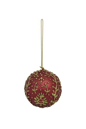 "3"" Embroidered Ball Orn  (Red/Citron)"