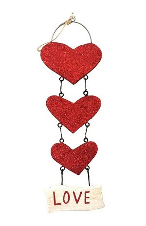 11.5' Glittered Wooden 3-Heart Orn (Red)