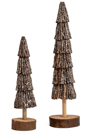 9' & 12' Coco Twigs Slim Tree Set of 2 (Natural)