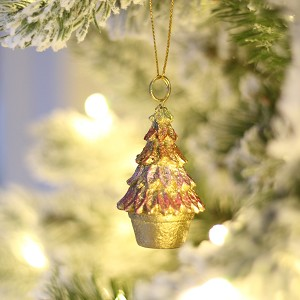 "2"" Leafy Cone Tree Cardholder Orn (Gold Dream)"