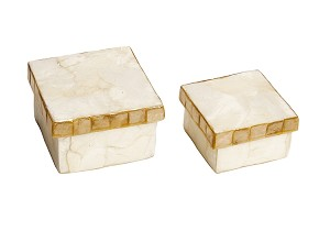"3"" Capiz Square Nesting Boxes w/Mosaic Lid/Set 2 (Nat White)"