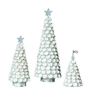 "3.5"" Clamrose Beaded Shell Tree ORN (White)"