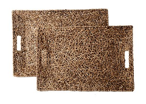 Large Tapered Weaved Vine Handle Tray (Natural)