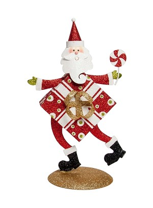 "11"" Tabletop Santa Gift Box Body (Multi)"