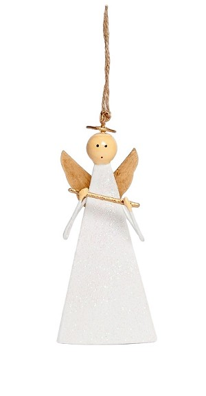 "5"" Triangle Angel w/Flute Orn (Gold/White) Flute"