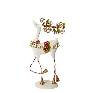 "12.75"" Tabletop Ornate Reindeer - Stripes (Red/Lime/White)"