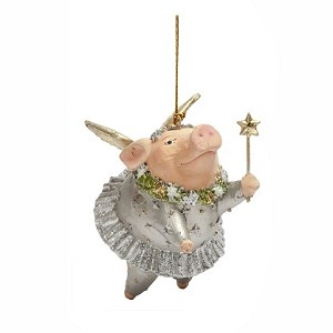 "3.5"" Wishing Pig Ornament (Winter White)"