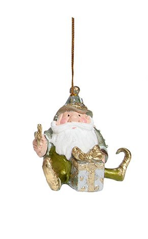 "3.5"" Gift Wrapping Gnome Orn (New Moon)"
