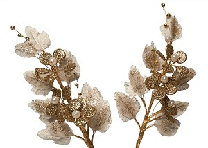 "18"" Glittered Floral Spray (Ivory/Gold)"