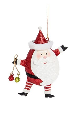 "5.5"" Egg Shaped Bearded Santa (Red)"