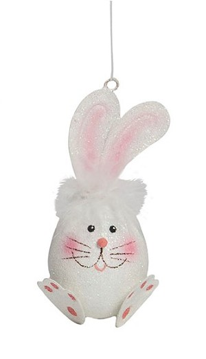 "4"" Paws Bunny Orn (White/Pink)"