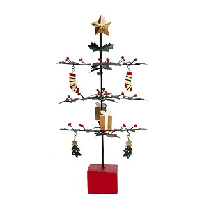 "12"" Tabletop Tin Cut Out Tree w/Ornaments (Green)"