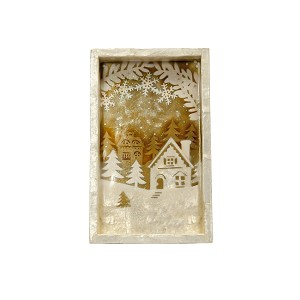 "10"" Rectangle Tray w/Winter House Scene (Gold/White)"