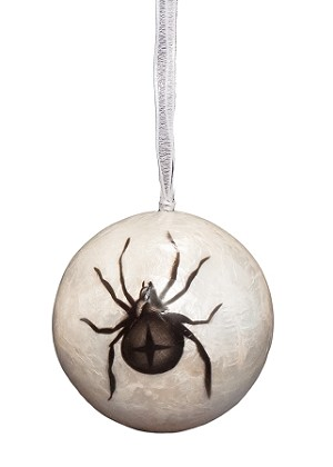 "3"" Capiz Ball - Spider Ornament (Black/White)"