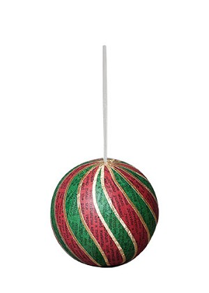 "3"" Recycled Striped Ball Orn (Red/Green)"