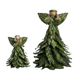 "8"" Leafy Tabletop Angel (Green/White Wash)"