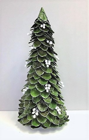 Glittered Butterfly Leaf Cone Tree w/Pods (Green/White Pods)