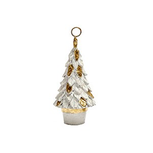 "4.5"" Leafy Cone Tree Place Card Holder (White/Gold)"
