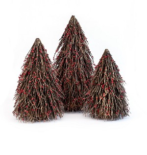 Twig Cone Tree w/Red Beads (Brown)
